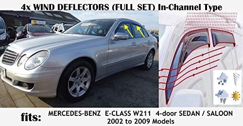 OEMM Windabweiser für Mercedes Benz E-Klasse W211 Limousine 4-Türer 2003 2004 2005 2006 2007 2008 2009, Acrylglas, 4 Stück