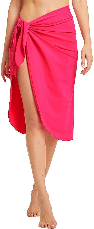 Micosuza Women's Swimwear Cover up Lycra Beach Sarong Pareo Solid color Bikini Swimsuit Wrap Skirt
