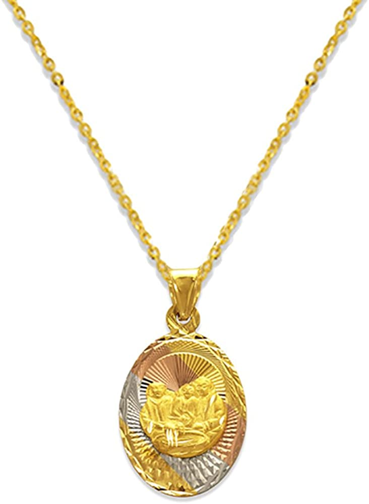 Details about  /14K Tri Color Gold Charm DC Oval Baptism Scapular Pendant exclude chain