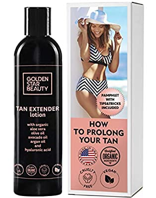 Tan Extender Daily Moisturizer - Best After Tanning Lotion w/Organic Oils and Hyaluronic Acid to Extend Your Tan from Sunless Tanner, Spray Tan, Sun or Tanning Bed 8.0 fl.oz.- Free Booklet included