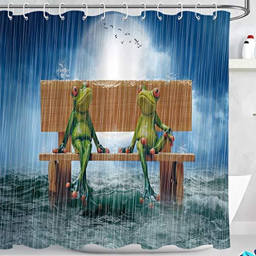 LB Grüner Frosch Duschvorhang 240x175cm Holzstuhl, Ozeanwellen, Regen, lustig Bad Vorhang mit Haken Extra Breit Polyester Wasserdicht Antischimmel Badezimmer Gardinen