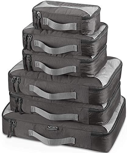 G4Free  6pcs Packing Cubes Value Set for Travel, 6pcs, (1S+2M+2L+1XL)-6PC, Grey