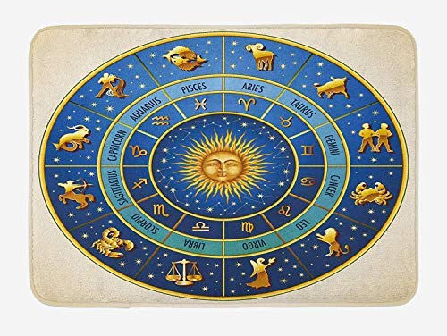 PdGAmats Astrology Bath Mat, Wheel of Astrological Signs Names and Dates with Moon Sun in Middle 23.6 W X 15.7 W Inches