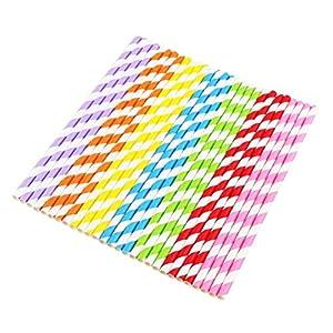 Vicloon 175 Pcs Paja de Papel Respetuoso con el Medio Ambiente,Pajitas Ideal Pajas de Beber para Cumpleaños,Bodas,Navidad,Baby Shower,Fiestas de Celebración - 7 Colores