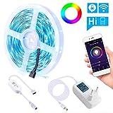 Luces de Tira LED WiFi, LEDGLE RGB 5050 SMD Multicolor IP65 Impermeable Luces LED Kit, Funciona con Alexa, Google Home, WiFi...