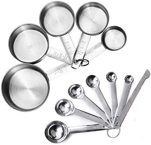 JUYILSU - Juego de 12 tazas medidoras y cucharas medidoras de acero inoxidable de primera calidad, 5 tazas medidoras y 6 cucharas medidoras con nivelador, para ingredientes secos y líquidos