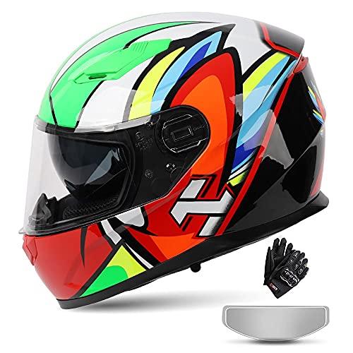 BDTOT Casco Moto Modular Dot/ECE Homologado Integrado con Doble Anti Niebla Visera Cascos de Motocicleta Dot/ECE Homologado a Prueba de Viento para Adultos Hombres Mujeres