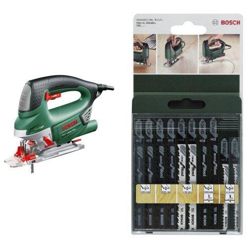 Bosch PST 1000 PEL - Sierra de calar de carrera pendular, color verde + 2 609 256 744 - Juego de hojas de sierra de calar de 10 piezas vástago en T
