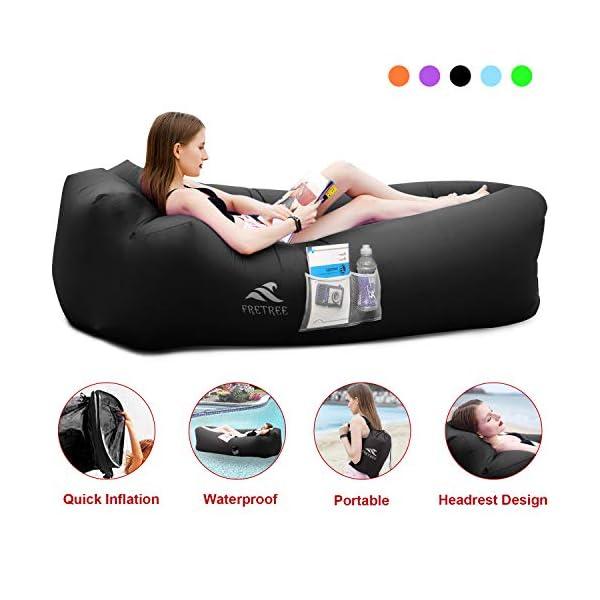 FRETREE Inflatable Lounger Air Sofa Hammock – Portable Anti-Air Leaking &...