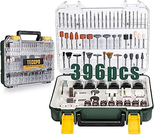 Accesorios de Herramientas Rotativas POPOMAN 313PCS, diámetro de mangos 1/8'(3.2mm) Grinder Universal Kit de Accesorios, para amoladora eléctrica de corte, amolado, lijado, afilado, tallado
