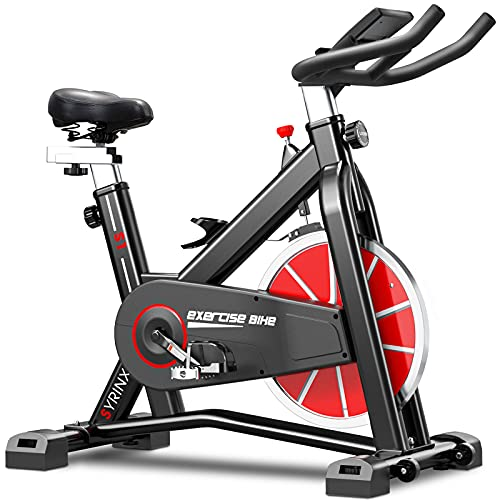 SYRINX Indoor Cycling Bike-Belt Drive Indoor Exercise Bike,Stationary Cycle Bike for Home Cardio Gym Workout (Black) (Black)