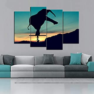 woplmh Print Modular Painting Fashion Poster -4 Pieces/Set Elephant Canvas Art HD Wall Picture for Home Decoration-40x80cmx2 40x100cmx2 No Frame