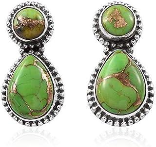 óvalo, pendientes redondos de turquesa verde, pendientes de gota, pendientes colgantes, pendientes de plata de ley para regalo de verano Sterling Silver Drop Earrings