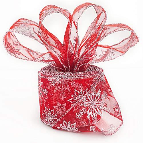 ANOTION Rolle Satinband Geschenkband, Schleifenband Dekoband Satin, 6,3 cm in der Breite Organza Band Schneeflocke Verdrahtet Schier Funkeln Band mit Spule für Weihnachten, Party Dekoration-Rot