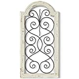 Barnyard Designs Rustic Wood and Metal Wall Decor, Large Decorative Wrought Iron Scroll Wall Art, Vintage Farmhouse Home Decor, 16' x 32'