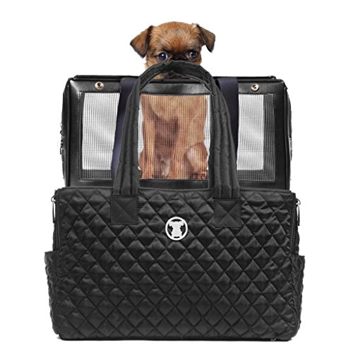 MISO PUP Black Quilted Interchangeable Airline Approved Pet Carrier Combo with Pockets for Small...