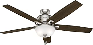 Hunter Indoor Ceiling Fan with LED Light and pull chain control - Donegan 60 inch, Brushed Nickel, 54172