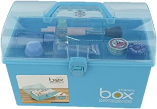 Pekky Small Plastic Medicine / Art Supply Craf Storage Box with Tray and Handle (blue)