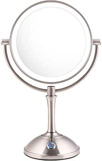 """AmnoAmno LED Makeup Mirror-10x Magnifying,7.8"""" Double Sided Lighted Vanity Makeup Mirror with Stand, Touch Button Adjustab..."""