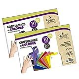 BLOC CARTULINAS DE COLORES QUIJOTE PAPER WORLD - Hojas de colores, 20 hojas, tamaño...