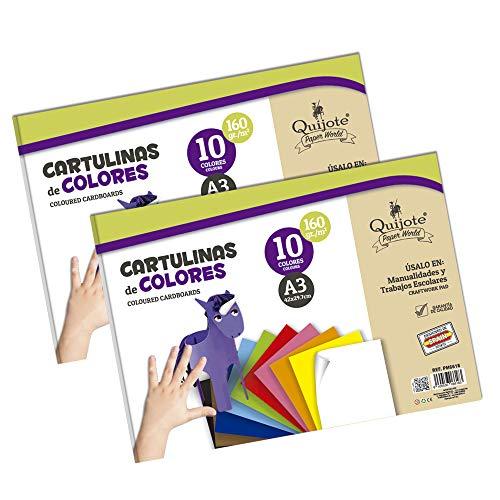 Quijote Paper World Pack 2 Blocs de Papel, Cartulinas, Hojas de Colores, Papel Manuladidades, 20 Hojas A3, 160gr/m² para Manualidades, Dibujo, Diseños, etc. 10 colores
