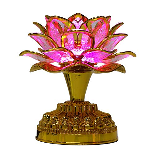 Buddha Lotus Light LED Lotus Lamp Golden Lotus Light LED Lotus Buddhist Lamp Buddhism Faith Supplies Buddhism Prayer Accessories with 36 Different Buddhist Song