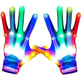 New and Personalized Toys for Boys and Girls Aged 3-12, Luminous LED Gloves, Birthday Gifts, for Teenagers, Sensory Luminous Toys for Dark Parties, Best Gifts for Partie (A Pair)