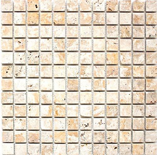 Mosaico de azulejos travertino, piedra natural, amarillo, dorado antiguo y travertino, MOS43-51023
