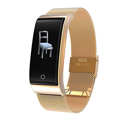 BYBYC Fitness Tracker,Smart Watches, Fitness Accessories, Activity Trackers with Pedometer and Heart Rate Monitor for Men and Women Sports Wristbands, Gold Steel