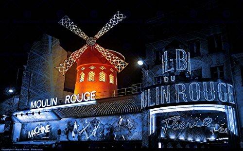 Wee Blue Coo LTD HP2484 Fotoposter, Motiv: Paris Molin Rouge, 30,5 x 40,6 cm, Motiv Cityscape