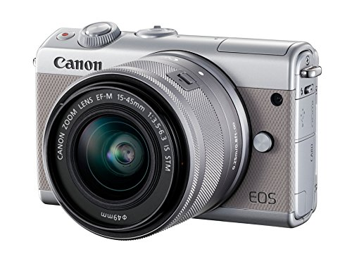 Canon EOS M100 Systemkamera (24,2MP, 7,5 cm (3 Zoll) Display, WLAN, NFC, Bluethooth, Full HD) Kit mit EF-M 15-45 mm f/3.5-6.3 IS STM grau