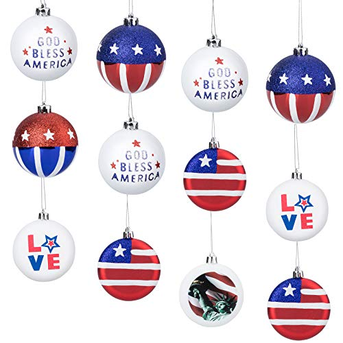 12pcs Patriotic Ball Ornaments, BS 3.15' Large Christmas Tree Balls Hanging Independence Day Party Decor Christmas Ornaments Holiday Wedding Tree Decorations