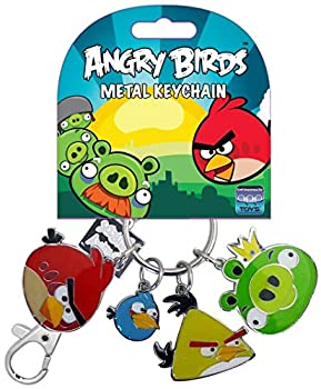 Commonwealth Toys Angry Birds Metal Keychain Style 1 Red Bird Blue Bird Yellow Bird King Pig