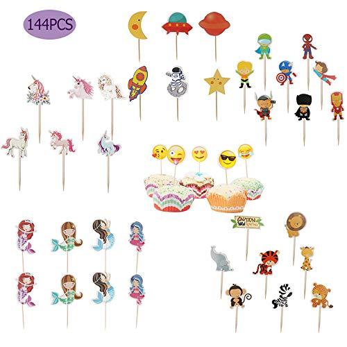 144 Stks/set Cartoon Tandenstoker Taart Topper, Bakken Cupcake Kaart invoegen Vlag Decoratie, Cupcake Sandwich DIY Vlag voor Bruiloft Kids Verjaardag Party Decor Supplies
