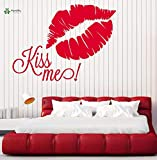 fancjj Vinyl Wandtattoo Kiss Me Lip Print Romantisches Schlafzimmer Nachttisch Home Art Dekoration...