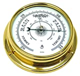 Tabic Traditional Brass Barometer, Heavy Lacquered Brass (1/2kg), Weather Instrument, Yacht Ship Sailing Clock, Gift, Handmade in England