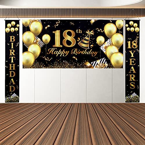 Banner Buon Compleanno, Compleanno Festa Decorazioni Oro Nero, Striscione Decorativa per Feste di Compleanno, Decorazione per Feste, Sfondo di Fotografia di Poster in Tessuto Oversize (18)