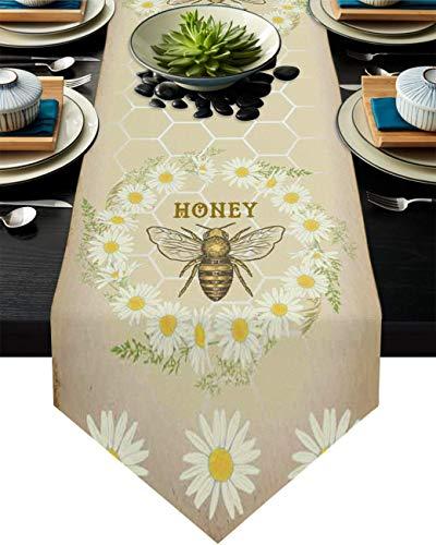 Camino de mesa de arpillera con flores de margaritas y abejas sobre fondo vintage, mantel, bufandas de 33 x 177 cm