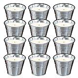 12 velas de citronela, antimosquitos en interiores y exteriores, 110 – 150 horas de combustión, zonas de cera de soja, ahuyenta moscas, mosquitos, vela de limón para jardín, terraza