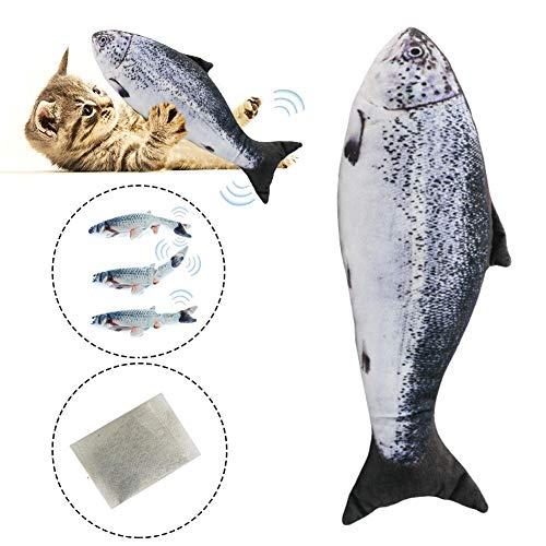 Mississ Katzenspielzeug, Elektrofisch, Automatischer 3D-Simulationsfisch, Springender Fisch, Plüschspielzeug, Katzenspielzeug Mit Batterie, 3 AAA-Stile (Nicht Im Lieferumfang Enthalten): Wels, Lachs