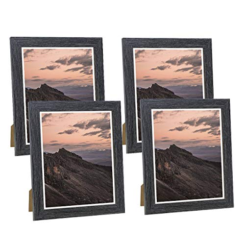 NUOLAN 8x10 Picture Frame Weathered Black Wood Pattern Photo Frames for Wall or Desk Display, 4 Packs(NL-PF8x10-DG)…