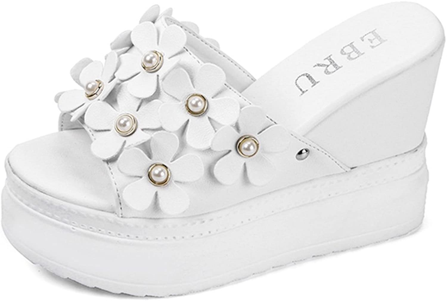 Kyle Walsh Pa Wedges Slippers for Women,Casual Pearl Flower Thick Platform Flip Flops Slides shoes