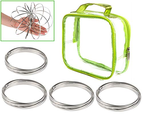 4pc Flow Slinky Arm Ring Kinetic Spiral Educational Toy Dance Prop Fun Sensory Interactive & Stress Anxiety Relieving (4pc with Carrying Case)