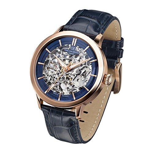 Carl von Zeyten Herren Analog Automatik Uhr mit Leder Armband CVZ0013RBL