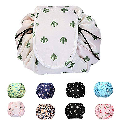 Pro-Noke Drawstring Lazy Cosmetic Bag, Make up Bag Portable Large Travel Cosmetic Bag Pouch Travel Toiletry Storage Organiser for Women and Men, Waterproof Matrial (White Cactus)