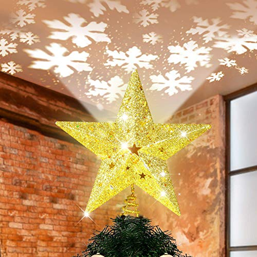 "Christmas Tree Topper Lighted with Bulit-in LED Projector Snowflake Moving Light Effect, 3D Hollow Glitter Star Tree Topper Plug-in Powered, 9.6"" Golden Xmas Tree Topper for Christmas Tree Decor"