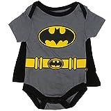 Batman Infant Baby Boys 'Creeper Onesie Bodysuit Snapsuit' With Cape (3-6 mo., Grey)