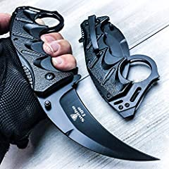"""Snake Eye Tactical Everyday Carry Karambit Folding Knife. MULTIFUNCTIONAL: 3"""" stainless steel blade for cutting and carving, flip function for quick opening. COMPACT: Includes a belt clip. Easily concealed. MEASUREMENTS: 4.75"""" when the knife is close..."""