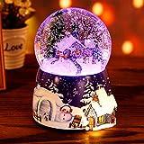 N/W Glitterdomes Snow Globe, Christmas Crystal Ball Music Box,Christmas Snowball Music Box, Musical Revolving Christmas Tree Snow House Luminous Snowflakes Music Globe