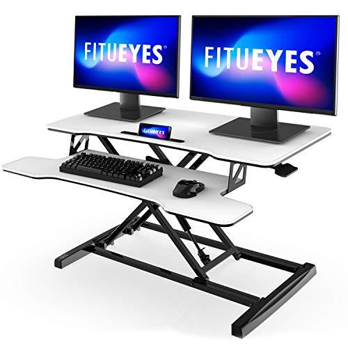 FITUEYES Büro Sitz Steh Computertisch Höhenverstellbar Stehpult mit Tastaturablage L91.5*W40*H(11-50.4) cm Geeignet für Zwei Monitore SD309103WW